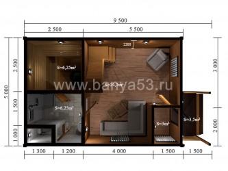 Баня 5x9.5 м