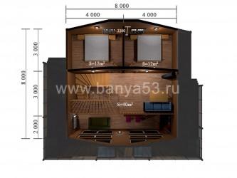 Баня 8x9 м