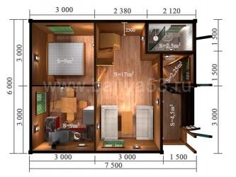 Дом 7,5x6 м