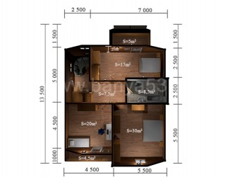 Дом 13,5x9,5 м