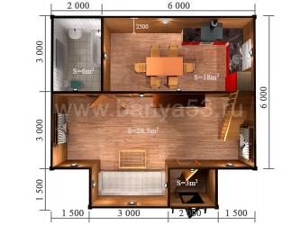 Дом 8x7,5 м