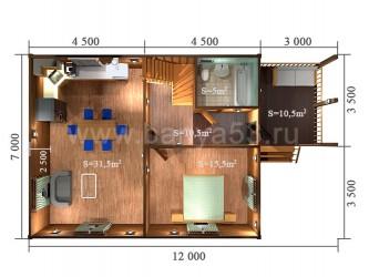 Дом 12x7 м