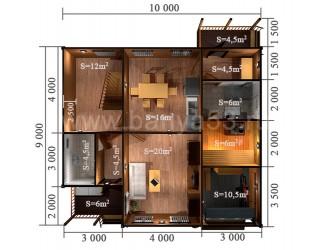 Дом 10x9 м