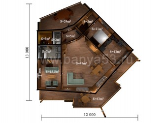 Дом 12x13 м