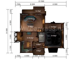 Дом 14x15,5 м