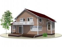 Каркасный дом 14x15,5 м