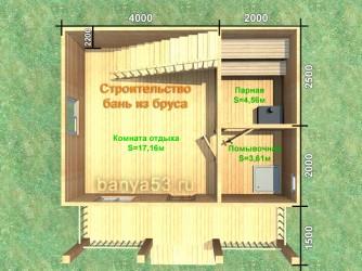 Планировка бани из бруса 6х6 м