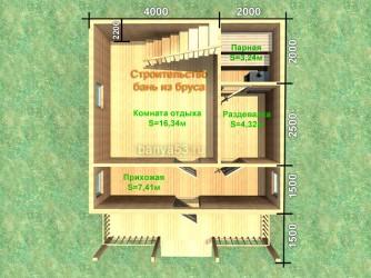 Планировка бани из бруса 6х7.5 м