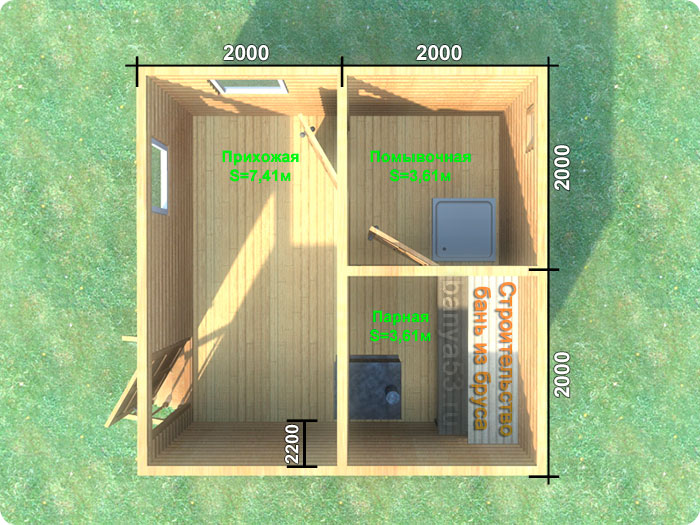 Проект бани под ключ 4x4м