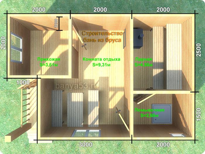 Проект бани под ключ 6x4(А) м. Проект бани под ключ 6х4(А) м.